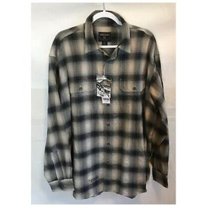 WOOLRICH NWT Men's Gray Blue Cotton Plaid Shirt XL